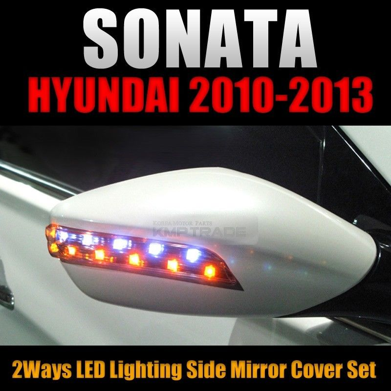 2way Led Side Mirror Cover Set L R Black For Hyundai 2010 2013 Yf