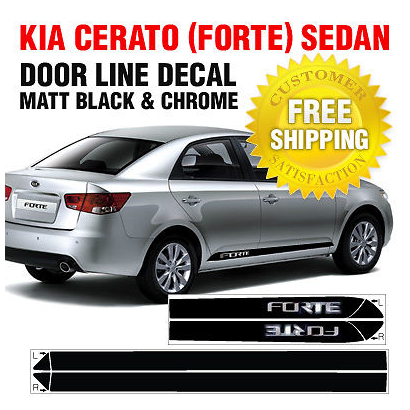 SPORTS DOOR LINE Decal Stickers Black/&Chrome For KIA CERATO FORTE KOUP 2010-2012