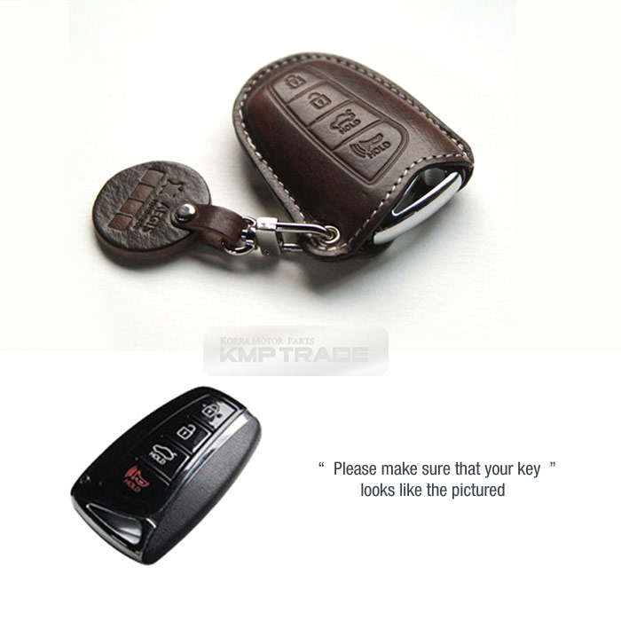 Genuine Leather Cover Smart Key Remocon Case Hook V-6 for HYUNDAI 4Button