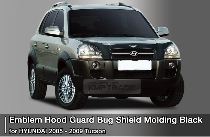Emblem Hood Guard Bug Shield Molding Black For Hyundai