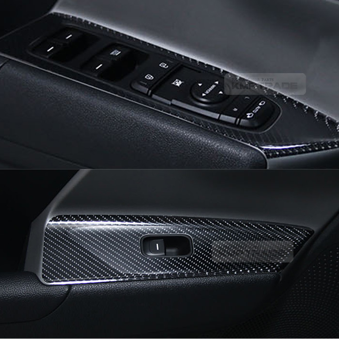 2017 Kia Niro Interior: Interior Window Switch 5D Glossy Shiny Carbon Decal 4P For