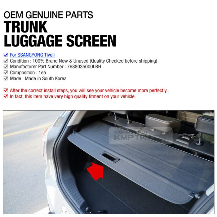 OEM Parts Rear Trunk Cargo Luggage Screen 1ea For For For SSANGYONG ...